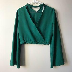 Beautiful green crop top with choker neck
